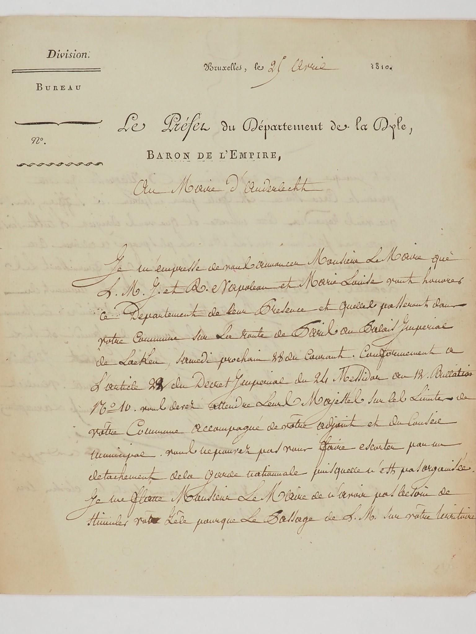 une lettre originale datée du 25 avril 1810 et relative à Napoléon.